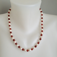 Carnelian Pearl Necklace  Freshwater Pearl Necklace