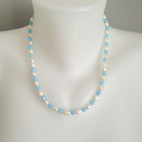 Pearl necklace   Freshwater perl Necklace   Blue white necklace