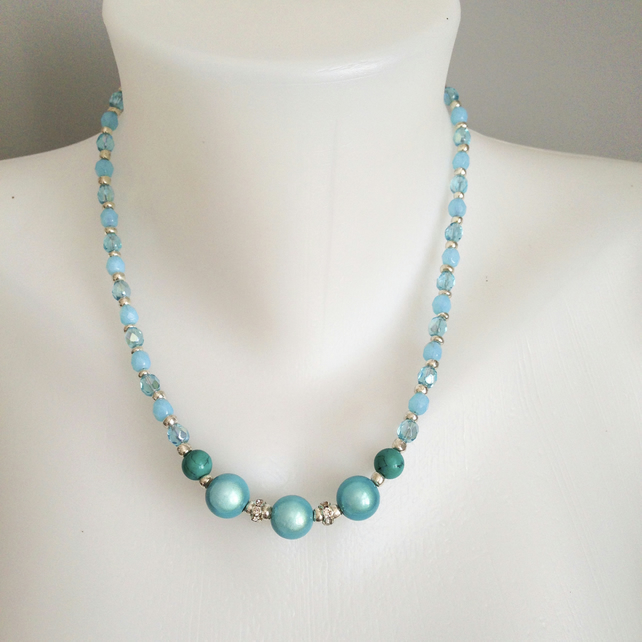 Blue necklace  Shades of blue necklace  Faceted glass necklace
