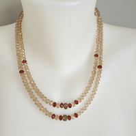 Sparkly faceted necklace  Glass beads necklace