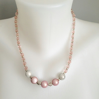 Pink necklace  Baby pink necklace