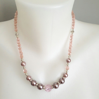 Pink necklace  Shell pearl necklace