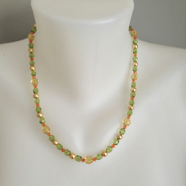 Shell pearl necklace  Faceted beads necklace Mixed beads necklace
