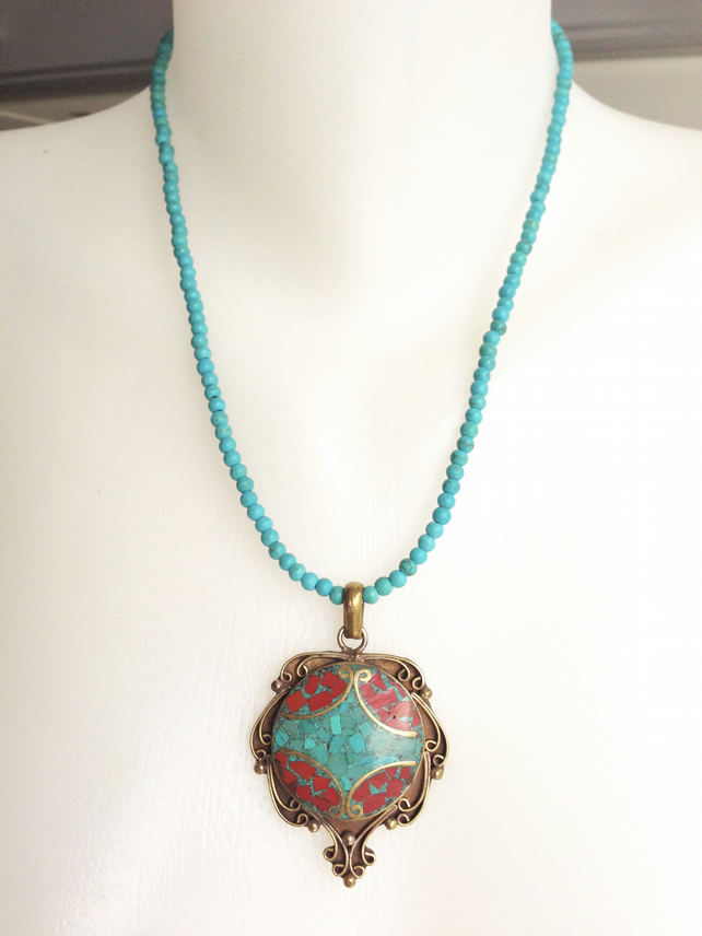Turquoise  Necklace   Brass Pendant Necklace  Tibetan Necklace