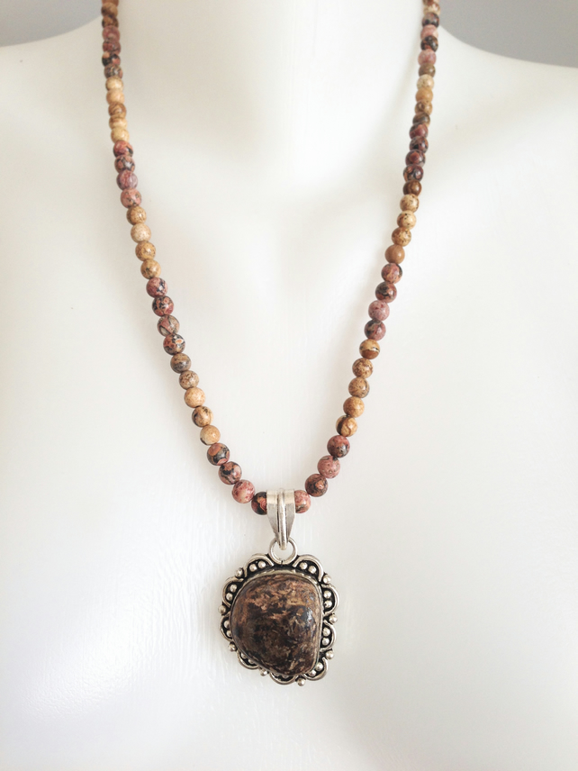 Jasper Necklace  Pendant Necklace