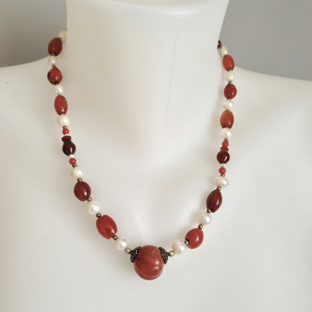 Carnelian Pearl Necklace   Freshwater Pearl Necklace Ethnic style necklace