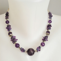 Amethyst necklace  Purple necklace  Ethnic necklace