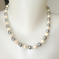 Shell pearl necklace  Grey pearl necklace  Grey white pearl necklace