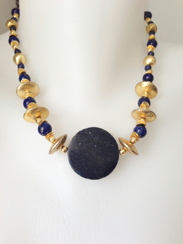 Coin Lapis Necklace Statement necklace  Lapis Lazuli necklace