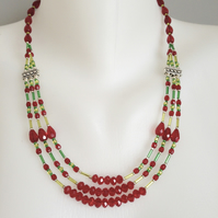 Layered necklace  Colourful red sparkly necklace