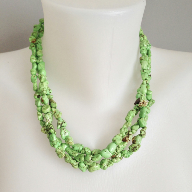 Green stone necklace  Multi strand necklace