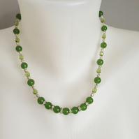 Jade rhinestones necklace, Green necklace