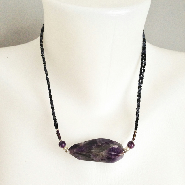 Amethyst stone pendant necklace  Amethyst Hematite necklace