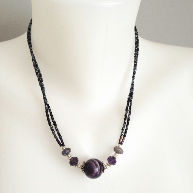 Amethyst stone pendant necklace  Amethyst Hematite necklace  Faceted amethyst be
