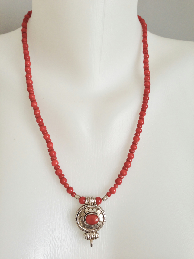 Coral necklace   Locket necklace   Red Necklace