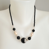 Black necklace  Pearl onyx necklace