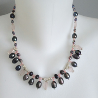 Mix beads neckless   Rose-Quartz necklace  Black pearl necklace