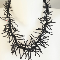 Black necklace  Seed bead necklace  Spiky necklace