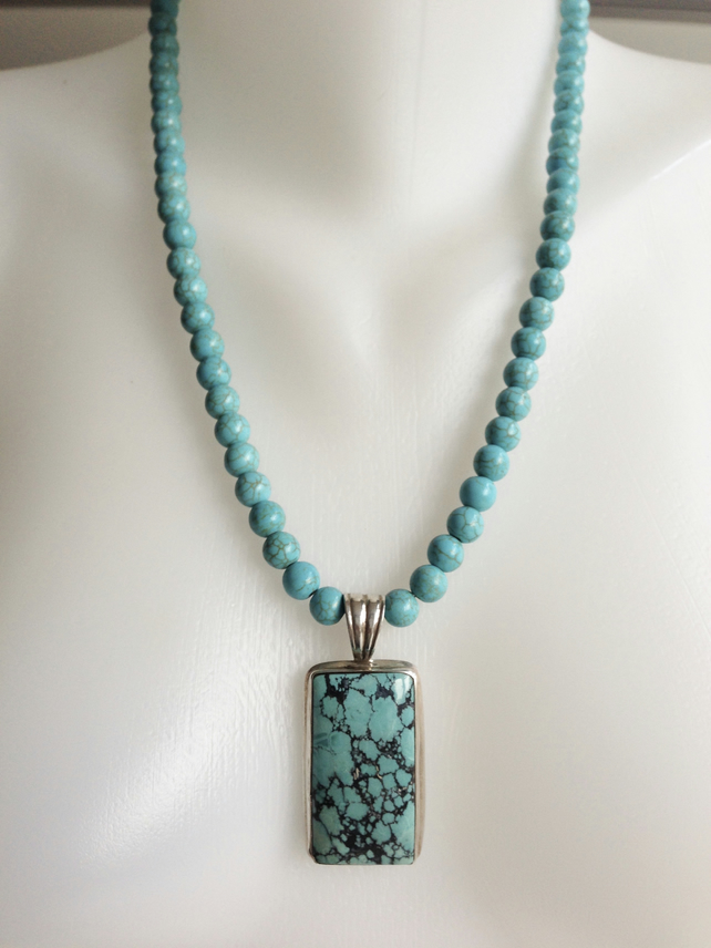 Turquoise necklace  Sterling silver turquoise pendant Removable pendant