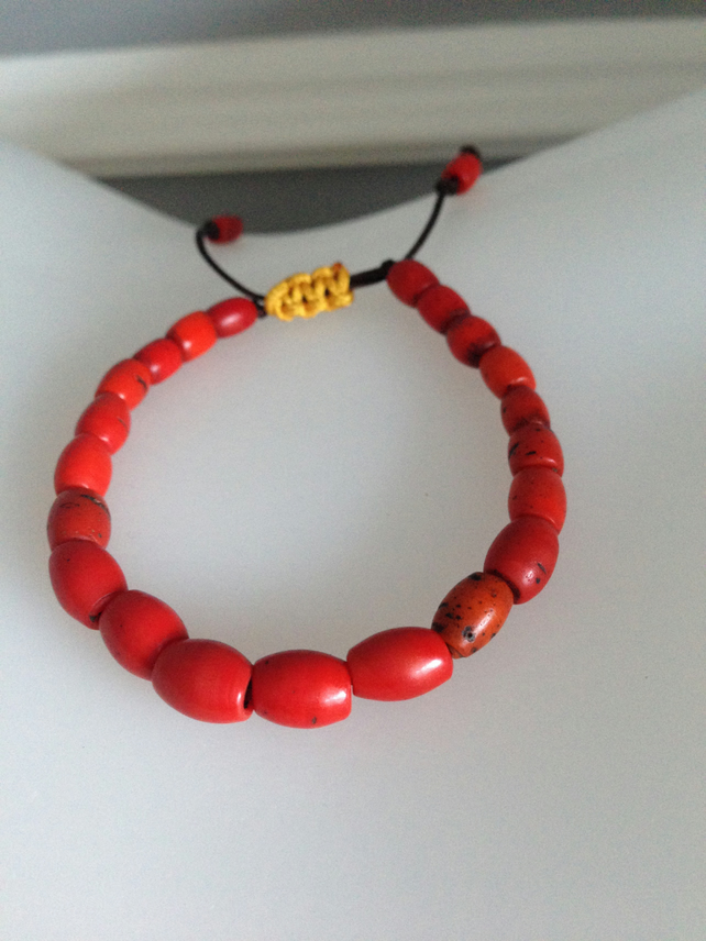 Red bracelet beads  Ceramic draw string bracelet