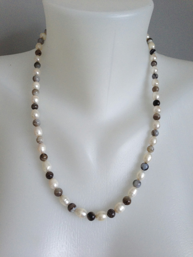 Pearl necklace   Freshwater pearl Necklace   Agate pearl necklace