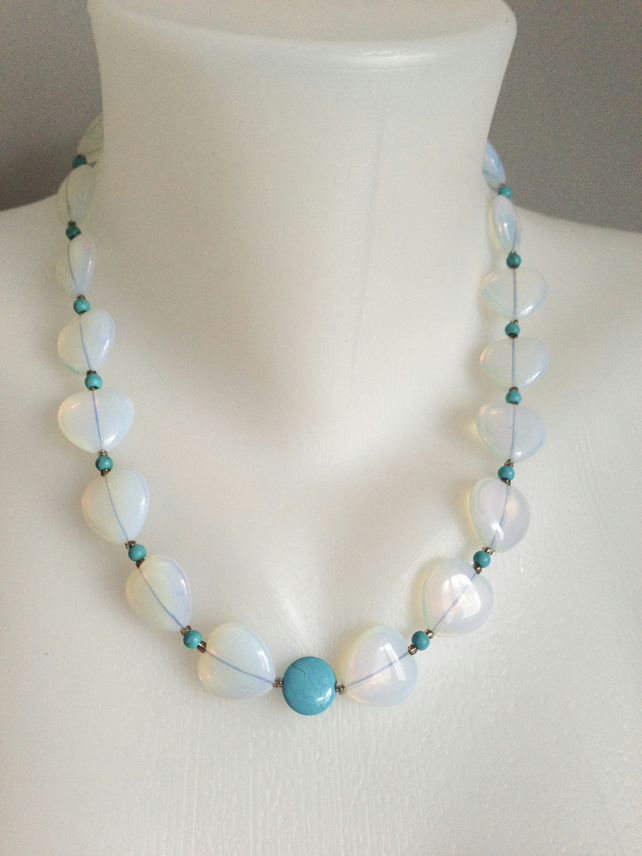 Opal necklace  Turquoise necklace  Statement necklace Opal heart necklace