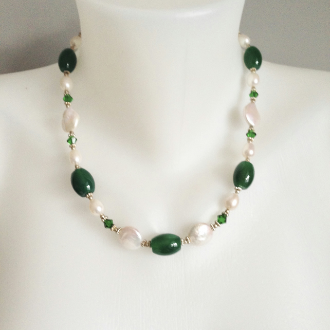 Coin pearl necklace,  Pearl Jade necklace,  Statement necklace