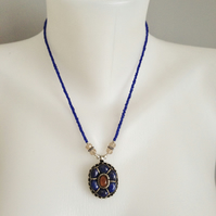 Lapis Necklace Pendant necklace Beaded necklace