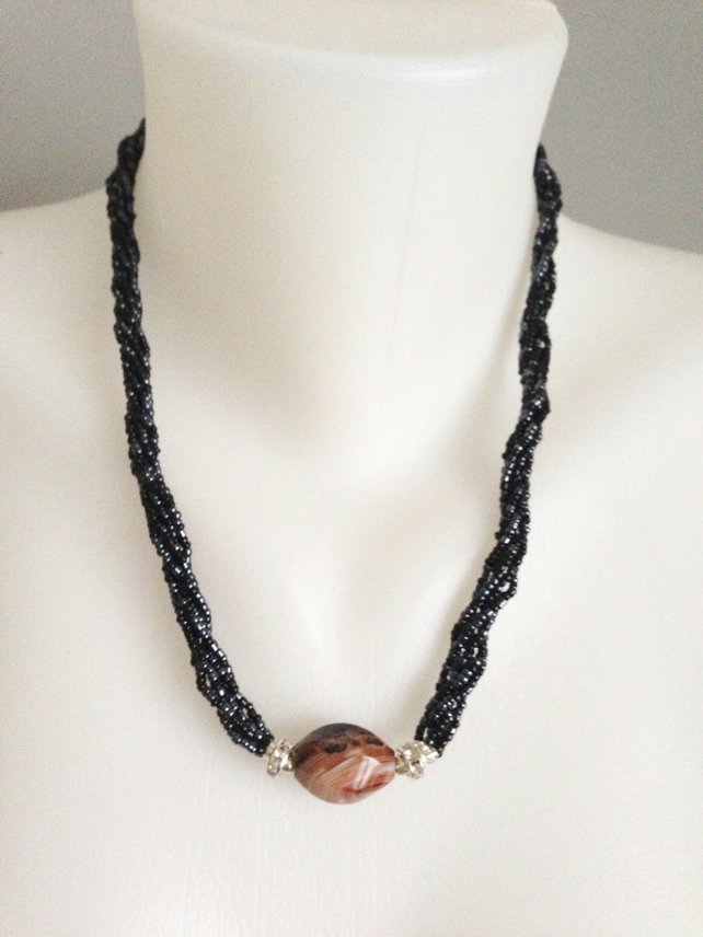 Hematite necklace  Multi-strand necklace   Agate necklace