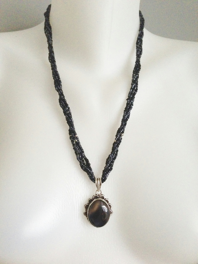 Hematite necklace  Agate pendant necklace   Black necklace  Removable Pendant