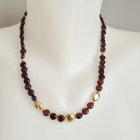 Coin Garnet necklace  Gold filled necklace  Red gold necklace