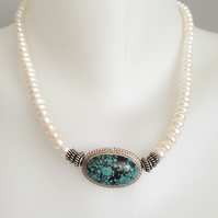 Turquoise Necklace  Tibetan necklace  Pearl turquoise necklace