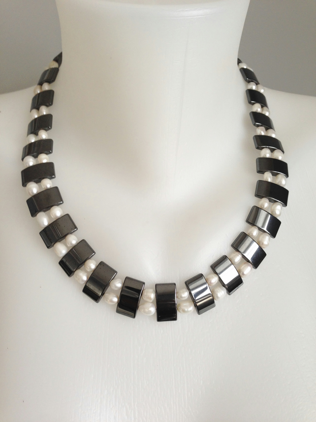 Statement necklace  Hematite necklace  Freshwater pearl necklace