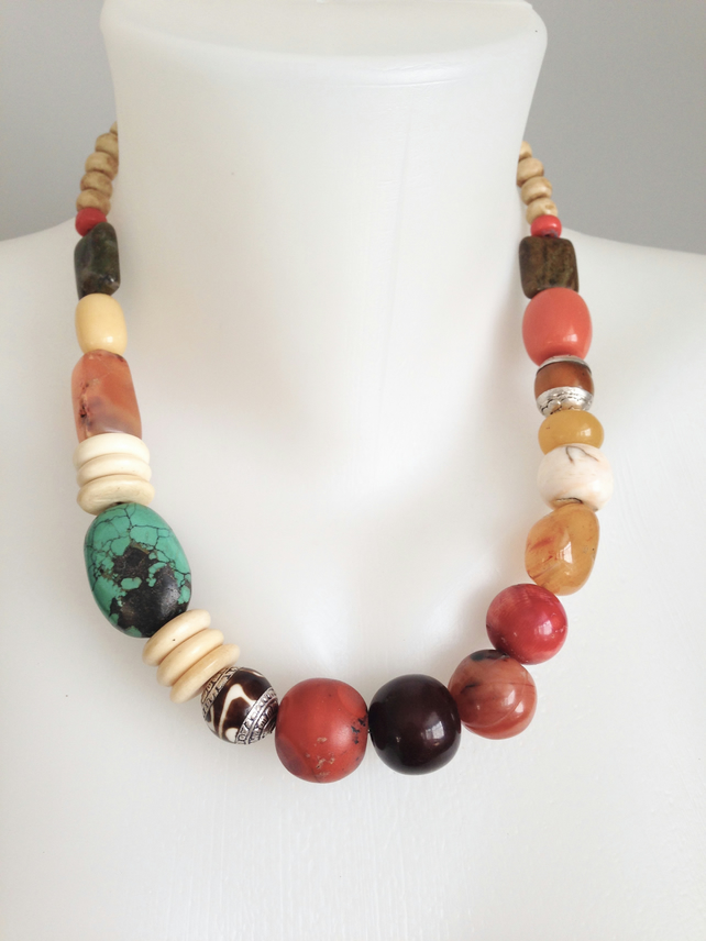 Chunky Vintage beads necklace  Tibetan necklace  Statement necklace