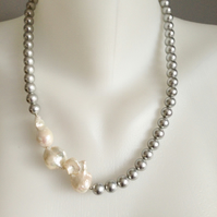 Baroque Pearl Necklace  Grey shell pearl necklace Pearl necklace