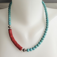 Turquoise  Necklace  Coral Necklace  Tibetan Necklace  Statement Necklace
