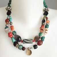 Vintage beads necklace Statement necklace  Ethnic necklace