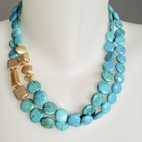 Coin turquoise necklace Turquoise Necklace  Layered necklace  Blue necklace