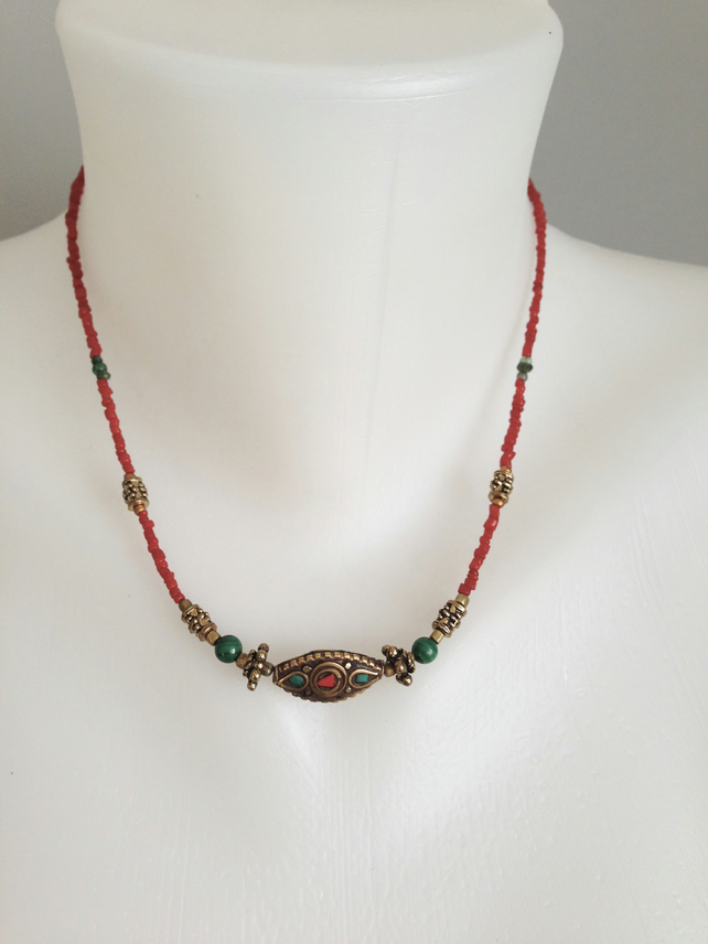 Brass malachite necklace