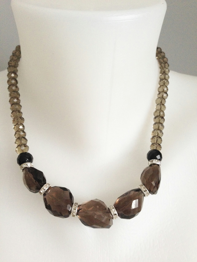 Smoky quartz  necklace   Faceted smokey quartz necklace