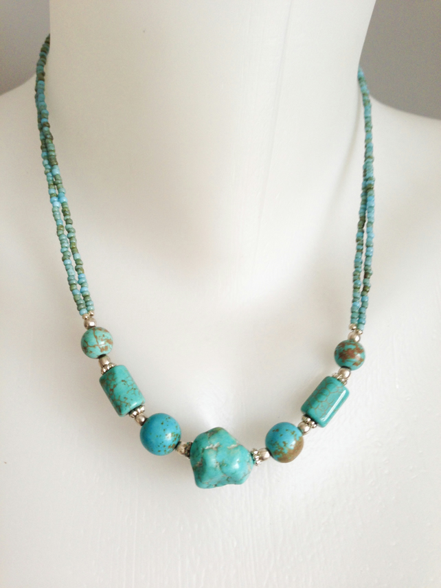 Turquoise Necklace  Tibetan necklace  Blue necklace