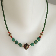 Jade brass necklace Tibetan necklace Green necklace