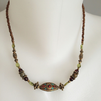 Brass necklace  Peridot necklace  Ethnic necklace  Tibetan necklace