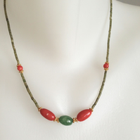 Jade coral necklace  Red green necklace  Coral agate necklace