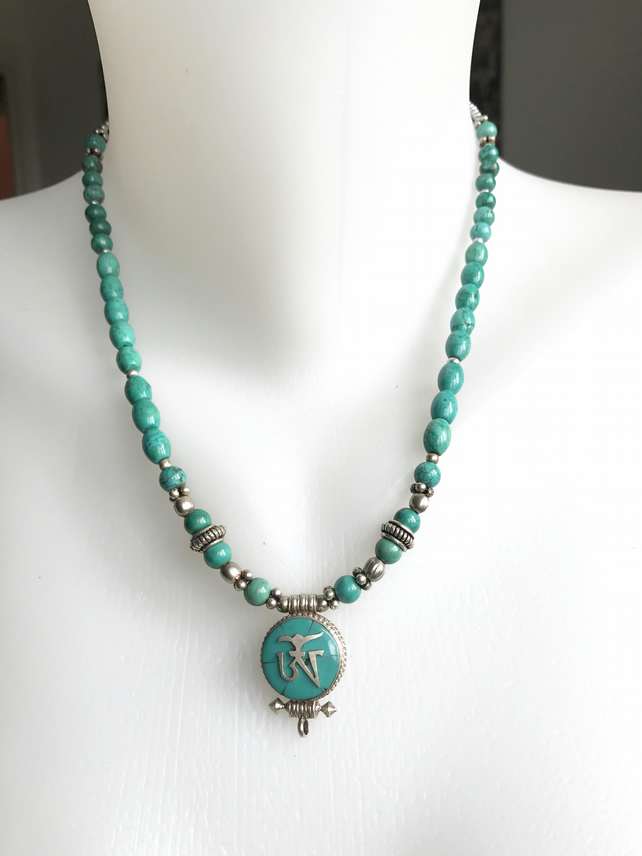 Om necklace, Turquoise necklace, Om pendant necklace, Tibetan necklace