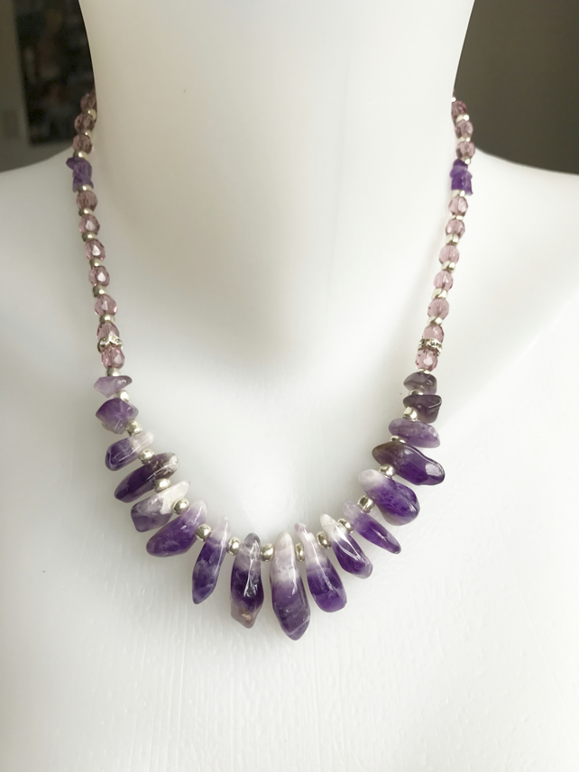Amethyst necklace, Purple necklace, Semiprecious stones necklace