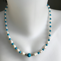 Pearl necklace, Turquoise necklace, Beaded necklace