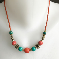 Tibetan Necklace, Ethnic necklace, Coral and turquoise necklace