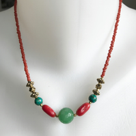 Jade necklace, Coral necklace, Turquoise necklace,Tibetan necklace