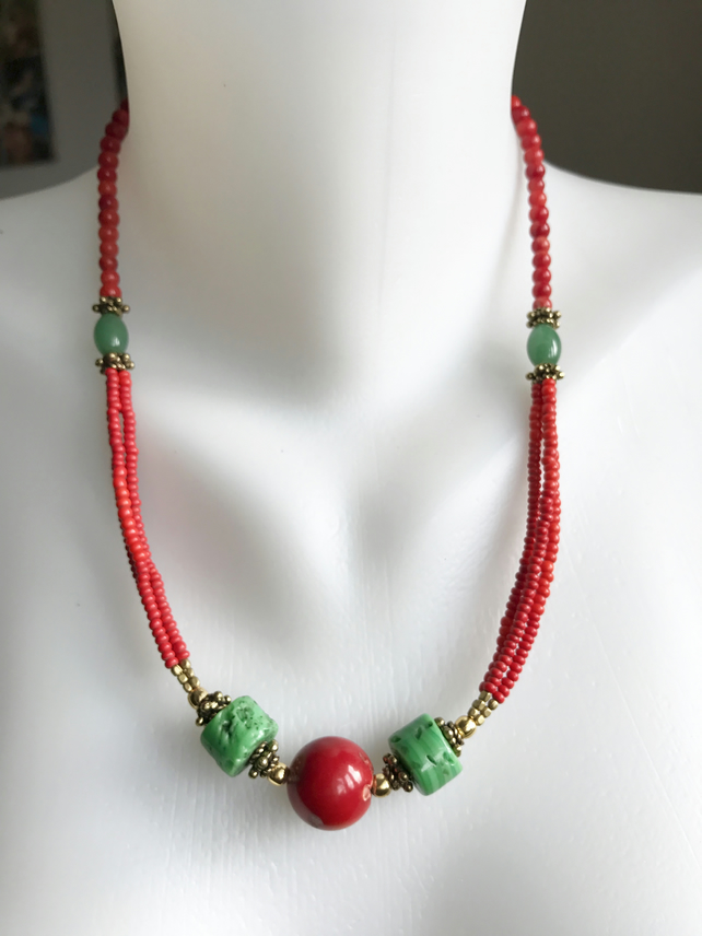 Coral Necklace   Tibetan Necklace   Brass Necklace